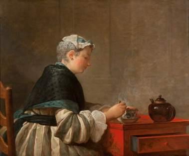 Chardin, Jean-Baptiste Simeon, 1699-1779; A Lady Taking Tea